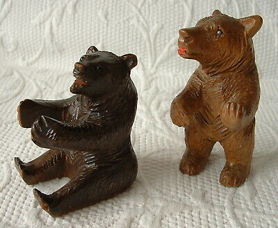 Antique Small Black Forest / Bavarian Bears X 2 – I Seated, 1 Standing