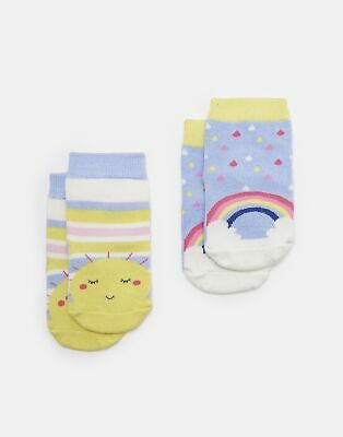 Joules Baby Girls Neat Feet   Two Pack Character Socks -  Size 0m-6m