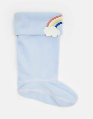 Joules Girls Smile Character Welly Socks - BLUE RAINBOW Size Size 8-10