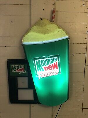 Vintage MOUNTAIN DEW FREEZE Cup Lighted Wall Display Sign RARE Mirro Products Co