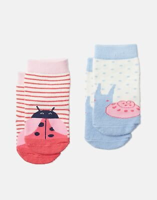 Joules Baby Girls Neat Feet   Two Pack Character Socks -  Size 12m-24m
