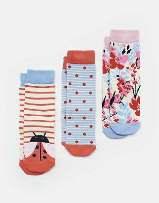 Joules Girls Brilliant Bamboo Socks Three Pack - PINK LADY BIRD Size Size 9-12
