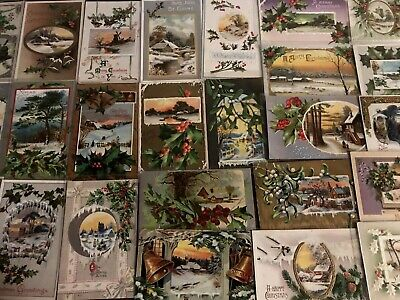 ~Lot of 25 Christmas Holiday Postcards with Winter Snowy Scenes ~Holly~a-28