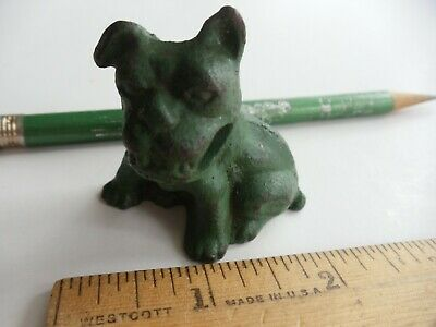Vintage Original GREEN Cast Iron Dog BULLDOG Pencil Holder Paperweight HUBLEY?