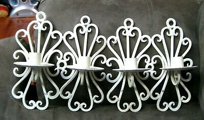 Vintage Pair of Cast Iron Candle Holders - Wall Mount