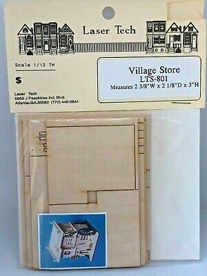 Dollhouse Miniature Laser Tech 1:144 Scale Small Village Store Dollhouse Kit