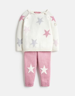 Joules Baby Girls Georgia Knitted Top And Trouser Set - PINK CREAM Size 3m-6m
