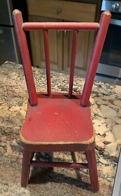 Antique Vintage 1920s Miniature Doll Size Wooden Rod Back Chair Original Paint