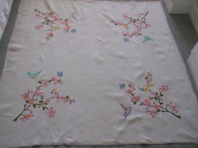 Vintage Tablecloth~ Pretty Bird Emb. Corners