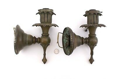 ANTIQUE ORNATE HEAVY CAST BRASS LIGHT SCONCES / WALL LAMPS VICTORIAN or ART DECO