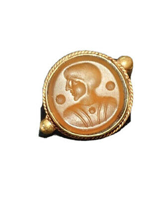 Ancient Greek Solid 14KT Gold Electrum Ring w/ Carnelian Intaglio Of Ruler GREAT
