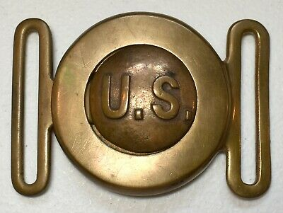 Authentic Wwi Us Army M-1910 U.s. Garrison Officer's Two-Piece Brass Belt Buckle