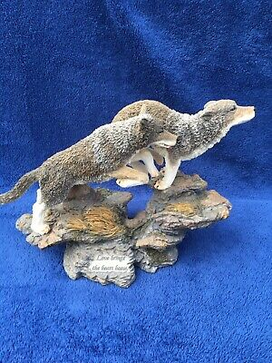 Beautiful Large Resin Wolf Figurine Two Wolves Leaping Collectible