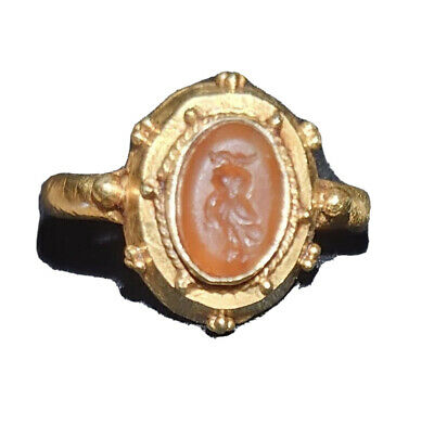 Ancient Greek Solid 14KT+ Gold Electrum Ring W/ Pink Carnelian Intaglio Pretty
