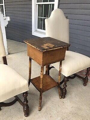 Antique  French Arch Square Wood Dining Chairs 2 Linen Upholstery Brass Finials