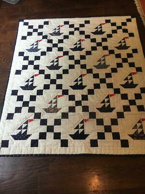 Vintage Crib Quilt Wall Hanging Child Sailboats