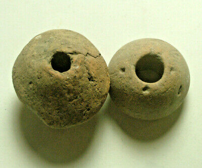 Lot Rare original ancient Roman clay spindle whorl beads artifacts Intact Unique