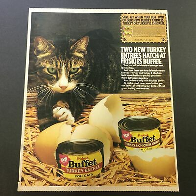 VTG 1981 Friskies Buffet Turkey and Chicken Entree For Cats Print Ad Coupon