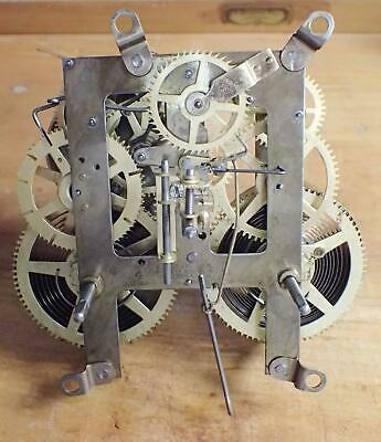 Anitique E Ingraham 8 Day Time & Strike Clock Movement Dated 4/98 4 Clock Parts