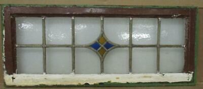 "OLD ENGLISH LEADED STAINED GLASS WINDOW TRANSOM Simple Diamond 30.25"" x 12.75"""