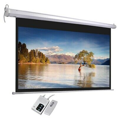 "100"" Electric Projector Screen 16:9 Remote Control Movie Film Theater Projection"