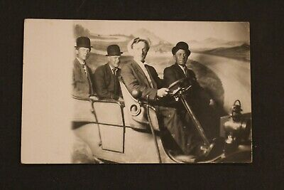 1908-1918 Rppc Real Photo Postcard Studio Picture Of Men In Car Azo Stamped
