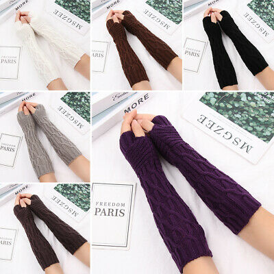 Soft Winter Fingerless  Mittens Long Knitted Gloves Arm Warmers Candy Color