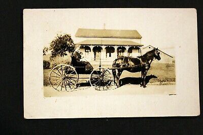 1910-1930 Rppc Real Photo Postcard Woman Riding Horse & Buggy Azo Stamped