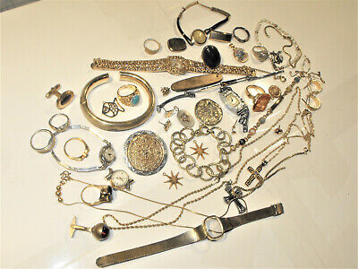 Gold Filled Plated Scrap Wear Lot Watch Rings Jewelry Cross Chains Bracelet 300g