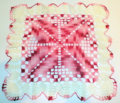 "Rose Colored Red White and Pink Crochette Doily Large Size 12"" x 12"""