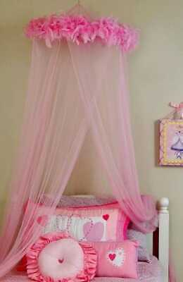 Feather Boa Mosquito Net Canopy Pink