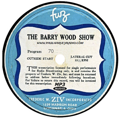 Barry Wood Show (11 Shows) Old Time Radio Mp3 Cd