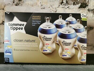 Baby Bottles Tommee Tippee 6 Decorated Botles 260ml BPA Free (D5)