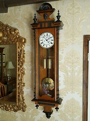 Antique burl walnut 2 weight Vienna regulator wall Clock. Burr walnut case