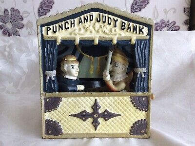 Punch and Judy cast iron money box mechanical bank. Working