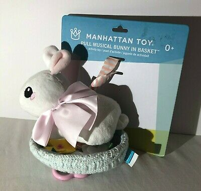 Manhattan Toy Pull Musical Bunny In Basket Activity Toy Lullaby Crib Baby
