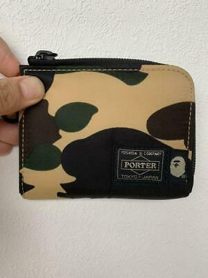 PORTER x A BATHING APE Bape Coin Wallet Camo Used from Japan F/S