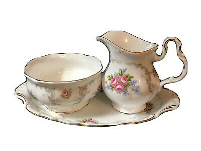 Royal Albert England Bone China Tranquillity Creamer Open Sugar Bowl With Tray