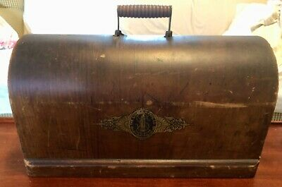 Vintage Antique Singer Sewing Machine Bentwood wood cover case top lid