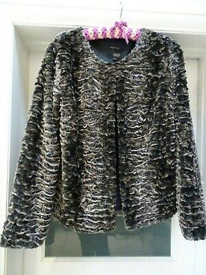 Next Made For Me Fluffy textured brown Faux Fur thin and lightweight Jacket 18
