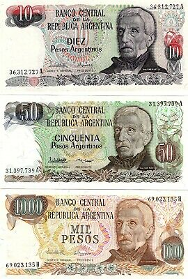 Argentine Argentina 10 + 50 + 1000  Pesos Set Of 3 Uncirculated Banknotes