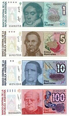 Argentine Argentina 1 + 5 + 10 +100 Australes Set Of 4 Uncirculated Banknotes
