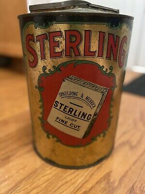 "Rare 1910s ""Sterling"" litho store display tobacco tin in good condition"