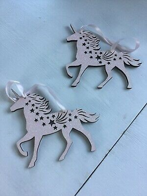2 X Pale Pink Glittery Hanging Unicorn So Pretty