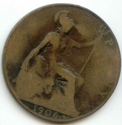 UK 1906 Bronze Penny (95% Copper) Pence Great Britain ----- EXACT COIN SHOWN