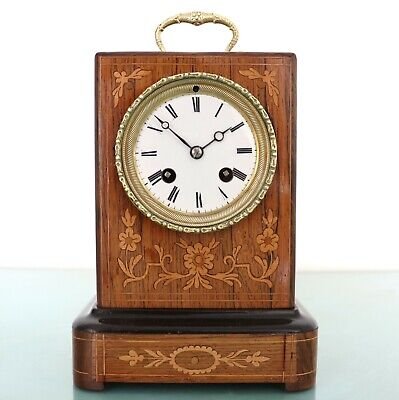 French Mantel ANTIQUE TOP! Clock Carriage INLAY BRONZE 1850s ROPE! Pendulum BELL