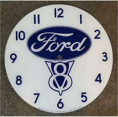 "*New* 14.25"" Ford V8 Truck Car Rd Glass Face Pam Clock"