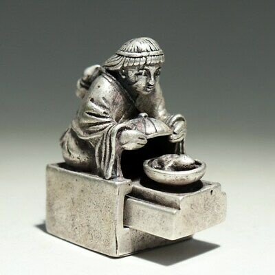 Collect Old Miao Silver Carve Grandma Cook Dinner Double-Deck Unique Seal Statue