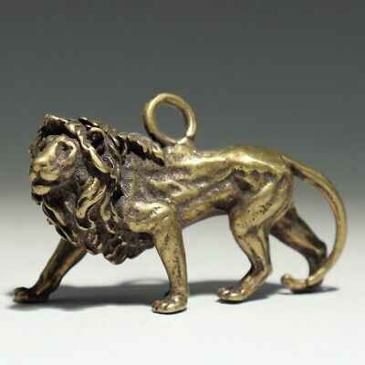 Collect China Old Bronze Hand-Carved Feral Lion Delicate Unique Decorate Pendant