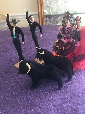 Vintage 6 Piece  Spanish Bull Fighter Set